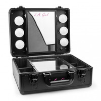 LA Girl Pro Studio Cosmetic Makeup Light Up Mirrored Train Case