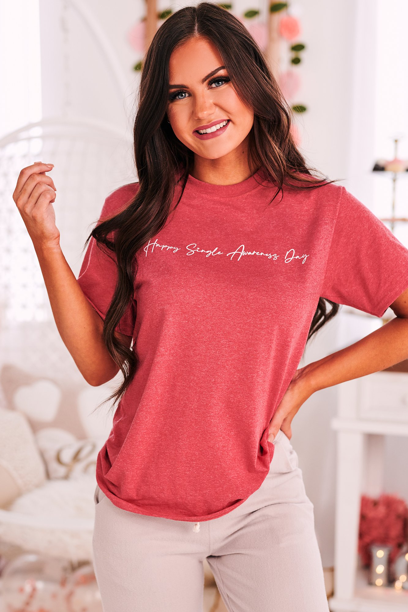"""Image of """"Happy Singles Awareness Day"""" Graphic T-Shirt (Heather Red) - Print On Demand"""