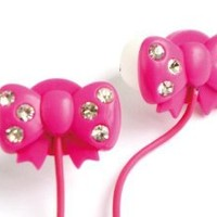 WCI Kids Crystal Phones - Cute Pair Of Quality Stereo Earphones With Inset Crystal Stones On Bow Design - Connect To iPod, iPhone, Droid, Blackberry, MP3 Player And All 3.5mm Audio Devices - For The Fashion Loving Child