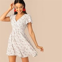 Multicolor V Neck Flutter Sleeve Ditsy Floral Print Mini Dress Women Fit And Flare A Line Casual Bohemian Dresses