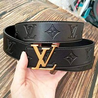 Louis Vuitton LV Fashion New Monogram Print Leather Couple Belt