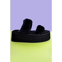 Get to It Double Furry Strap Platform Sandal