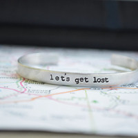 Let's Get Lost Cuff Bracelet - Travel - Traveler - Romantic - Looks Like Silver - Valentine's Day - Unisex - Under 25 - Personalized