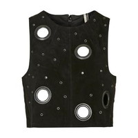 Suede Eyelet Shell Top - Black