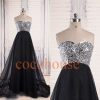 Black Crystals Long Tulle Prom Dresses Elegant Evening Gowns Formal Party Dresses Homecoming Dress Wedding Party Dresses Formal party Dress