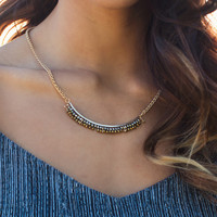 Standing On The Curve Hematite Bar Necklace