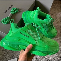 Hipgirls Balenciaga Hot Fashion Retro Transparent Thick-soled Daddy Shoes Green