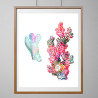 Sea Coral Watercolor Print, Coral Poster, Sea life corals painting, Wall Art, Deap Sea Corals, underwater life, Coral Reef art [NO 142]