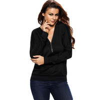 Women Shirt Top Zip Plunge V Neck T-Shirt Low Cut Half-Zip Top Sweatshirt BlackBlueOrange Tee Shirts