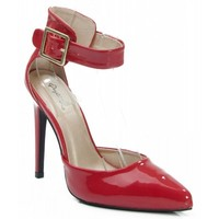 Qupid Virtue-01 Faux Patent Leather Pointy Toe Ankle Strap Pumps RED
