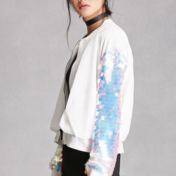Rehab Sequined Bomber Jacket