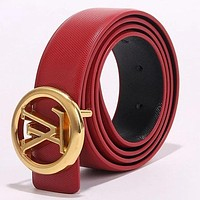 Louis Vuitton LV Newest Trending Girls Boys Circular Buckle Leather Belt Red