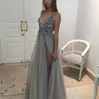 Gray Prom Dresses 2017, Split Backless Prom Dress, Grey Evening Dress