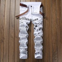 Men White Print Alphabet Stretch Slim Casual Men's Fashion Jeans [127702532125]