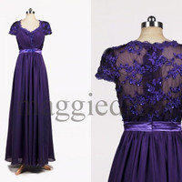 Custom Purple Applique Beaded Long Bridesmaid Dresses 2014 Prom Dresses Evening Gowns Formal Party Dress Cocktail Dresess Formal Wear