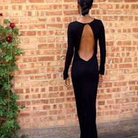 Black Backless Full Length Gown by alafemme on Etsy