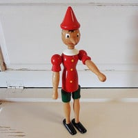 Vintage French Wooden 'Janod' Jointed Pinocchio Toy Christmas Gift or dress with lights for Christmas Decoration