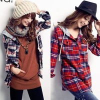 Trendy Plaids Checks Long Sleeve Womens Hooded Shirt Blouse Tops Buttons Pockets
