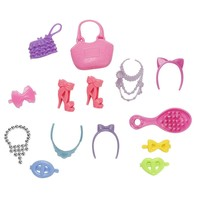 14pcs/1Set Cute  Headwear Shoes Necklace Blister Toy for Barbies Plastic Accessiries for Barbie Dolls Doll Bag