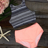 Sexy Tank Top and Orange Bottom Bikini Set Beach Swimsuit + Free Gift Summer Necklace