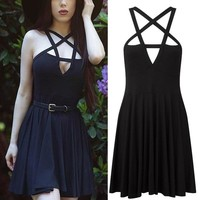 Women Black Slim Goth Pentagram Dress