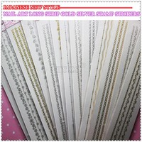 14 sheet/lot japanese new style nail art long strip gold silver stamp stickers
