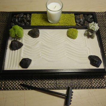 M-Deluxe Medium Zen Garden with Candle and Pagoda Lantern - DIY Kit