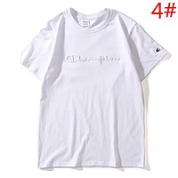 Champion Summer New Fashion Bust Embroidery Letter Women Men Top T-Shirt