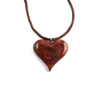 Wooden Heart Pendant, Wooden Heart Necklace, Wooden Jewelry, Wood Pendant, Wood Jewelry, Hand Carved Pendant, Heart Pendant, Heart Jewelry