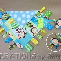 Baby Taggie Blanket with attached Stuffed Toy, Sensory Tag Toy, blue, turquoise, monkeys READY TO SHIP 134