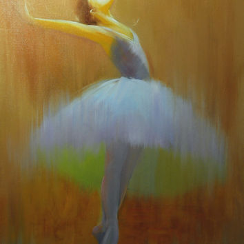 """Abstract Ballet - Ballerina Abstract Painting - Modern Dancer Art - Brown Yellow White Painting """"The Symphony of Flight"""" by Yuri Pysar"""
