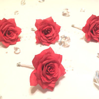 Red boutonnieres using handmade filter paper Roses made in your color choice, Men's lapel flower, Men's buttonhole flower, Prom boutonniere