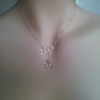 Leaf necklace, Hand forged Pure Silver Leaves - mom and sister gift, bridesmaid gifts, birthday gift, lovely friend gift