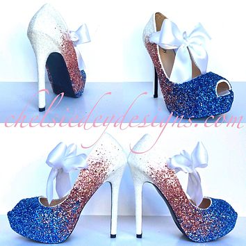 Glitter Peep Toe Pumps - White Light Pink Malibu Ocean Blue Heels - Ombre Wedding Open Toe High Heels