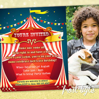 Circus Carnival Theme Birthday Party Invitation - Custom digital invitation with your details and photo - file sent to you to print at home