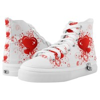 Retro Pink Red Valentine Heart Zipz High Top Shoes