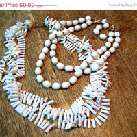 60% Blow out Two Vintage Snow White Necklaces
