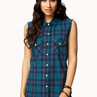 FOREVER 21 Grunge Plaid Shirt Green/Navy Large