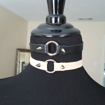 Infinity Leather Choker in Black and Blush Leather w/ Silver Rivets