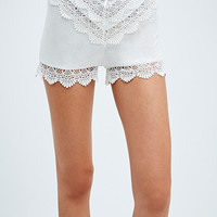 Kimchi Blue Embroidered Bed Shorts in Ivory - Urban Outfitters
