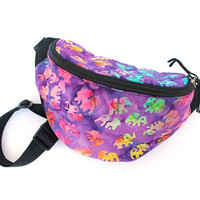 Batik Purple Elephants fabric - Cute Fanny Pack - Hip Waist Bag for travel, sport, and hiking