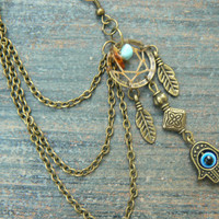 ONE hamsa hand evil eye dreamcatcher chained ear cuff turquoise and amber in boho gypsy hippie hipster Indie Moroccan tribal fusion style