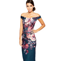 Floral Knee Length Formal Dress