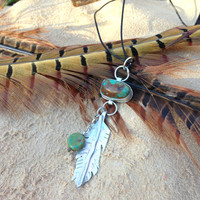Feather and Arrow Turquoise and sterling silver pendant   Pilot Mountain Turquoise, native american jewelry, tribal jewelry, bohemian chic
