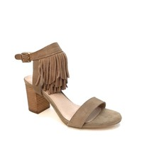 This open toe heel silhouette features a triple layered long fringe design at ankle, back cutout design, single strap across vamp, chunky stacked heel. Finished with lightly cushioned insole and adjustable back buckle closure easy on/off.