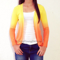 Orange Ombre Studded Knit Sweater Dip Dye Cardigan