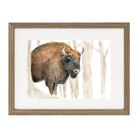 Bison in the woods original watercolor painting, animal art, wild life art, southwest, woodland art, wall art, animal art