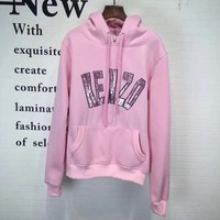 """""""Kenzo"""" Women Casual Fashion Sequin Letter Tiger Head Embroidery Long Sleeve Hooded Sweater Sweatshirt Tops"""
