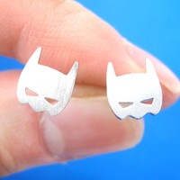 Batman Symbol Mask Shaped Stud Earrings in Silver | Allergy Free