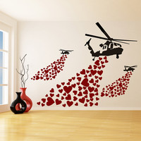 Banksy Vinyl Wall Decal Helicopter with Hearts / Street Art Graffiti Helicopters Decor Sticker / Heart Love Mural + Free Random Decal Gift